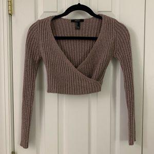 Wrap Sweater Crop Top